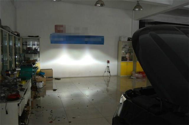 轩逸车灯改装阿帕6S后的远光效果