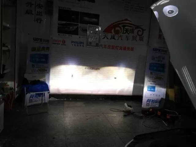 凯迪拉克车灯改装阿帕6改后远光效果
