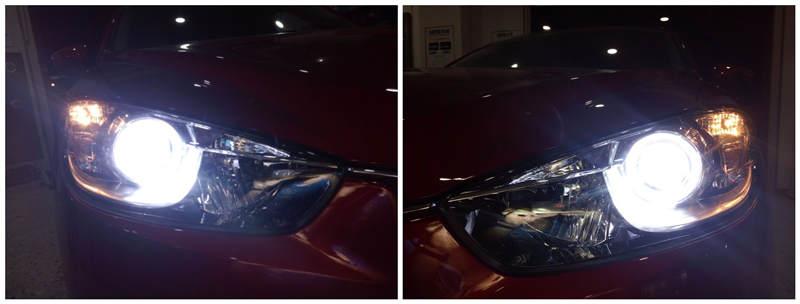 马自达CX-5车灯改装阿帕6-改后大灯效果