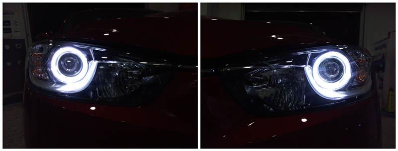 马自达CX-5车灯改装阿帕6-改后天使眼效果