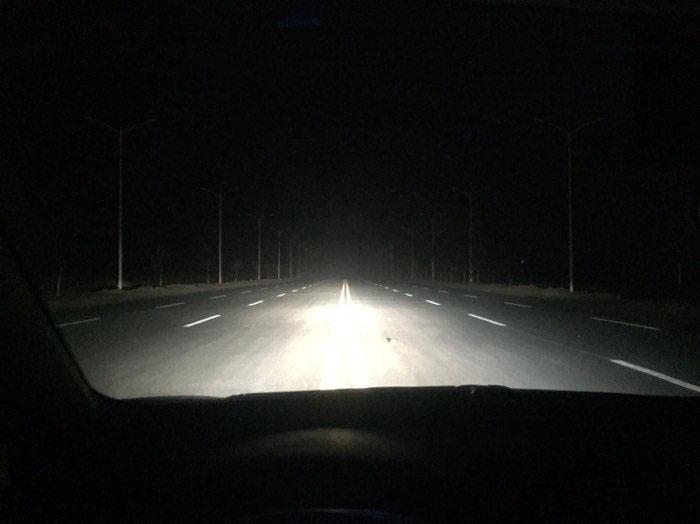 卡罗拉改灯后的远光效果